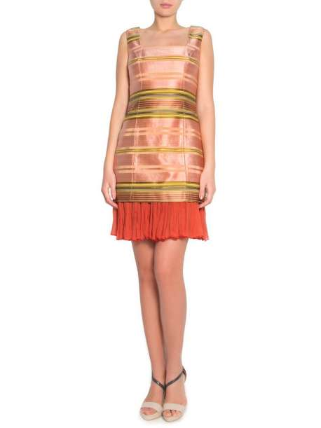 silk and cotton blend cloth dress with natural lining and silk muselin ruffle