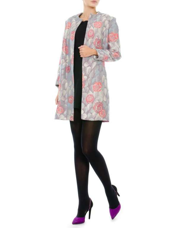 Silk and cotton overcoat with natural lining